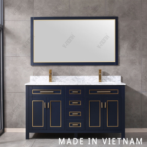 New Design High End 60inch Blue Finish with Gold Inlay Bathroom Vanity