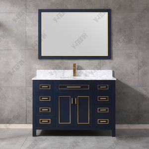 48inch Elegant Solid Wood USA Style Navy Blue Cabinet Modern Bathroom Vanity Made in Vietnam