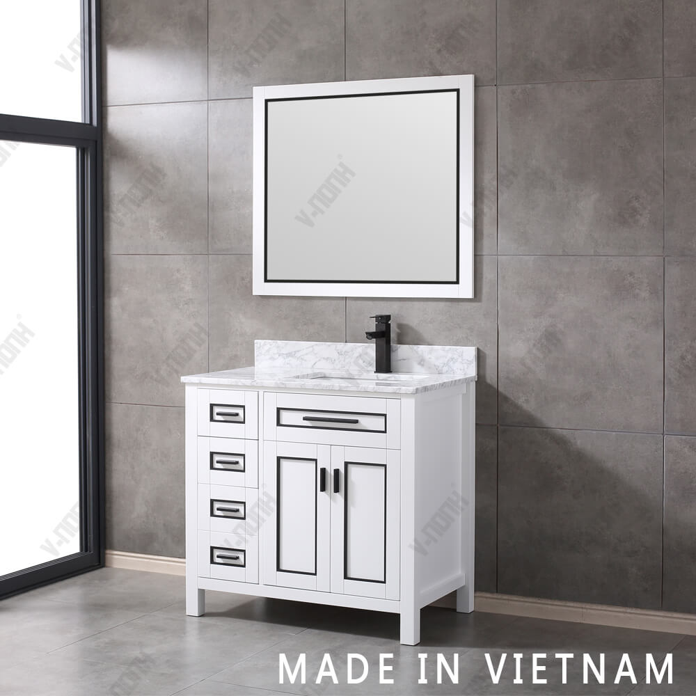 "36"" Single Sink Matt White Bathroom Vanity with Carrara White Marble Countertop"